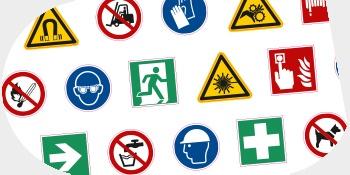 Sicherheitsschilder und Sicherheitskennzeichnungen